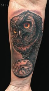 Owl Clock Tattoo
