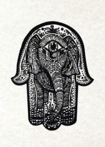 Hamsa tattoo meaning ideas designs small elephant for Hamsa elephant tattoo