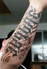 Ambigram tattoo meaning ideas designs family forever for Jobs that don t allow tattoos