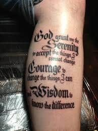 serenity prayer tattoos ideas design meaning. Black Bedroom Furniture Sets. Home Design Ideas