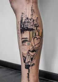 Calf Tattoo 55