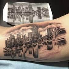 Chicago skyline tattoo 12 tattoo seo for Las vegas skyline tattoo