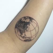 Globe tattoo meaning ideas designs eagle globe for Minimalist tattoo artist austin