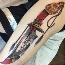 What Does Knife Tattoo Mean Represent Symbolism Tattoo knife set of values , such as betrayal and loneliness , the accuracy of the actions ; what does knife tattoo mean
