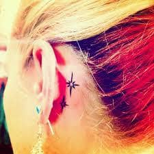 Star Tattoo Behind Ear 13